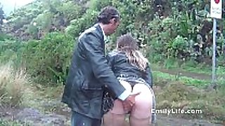 Blowjob and sex in the rain with non-professional milf e...