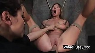 Bound wired honey love tunnel fist fucked