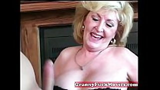Cute blond sexually excited granny