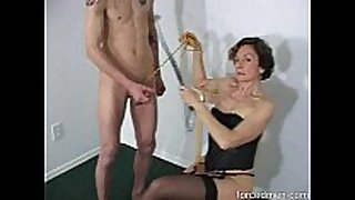 Oldie female-dominant demands guy to masturbate in advance of...