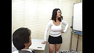 Big titted speaker in mini petticoat makes males real...
