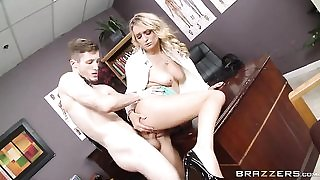 Sexy blonde doctor got pleasantly fucked in the office