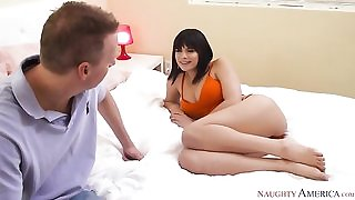 Brunette bimbo Violet Starr nailed by her friend's dad