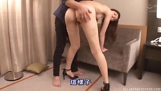 Ravishing Japanese lady in stockings gives head and gets showered with hot cum