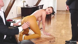 Two horny businessmen fuck gorgeous Slovakian chick